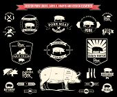Vector Pork Labels, Charts and Design Elements