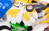 Safety helmet gloves macro.