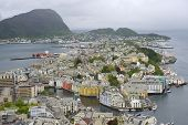 Aerial view to the Alesund city on a cloudy day Alesund, Norway.