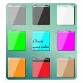 Set Of Multicolored Notepads, Vector Illustration.