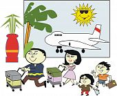 Asian family travel cartoon