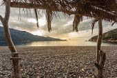 View From Beach Bar At Bussaglia Beach In Corsica