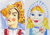 stock photo of evil queen  - watercolor illustration of the evil and the good woman - JPG