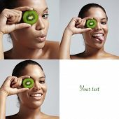 Set Of A 3 Photo Woman With A Kiwi Slice And A Space For Text