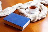 Cup Of Tea, Scarf And Book