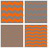 Tile chevron vector pattern set with orange zig zag on grey background
