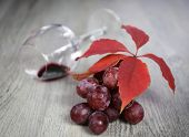 Wine Composition: Bunch Of Red Grapes, Wineglass And Autumn Leaves