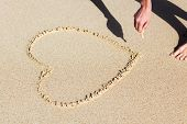 Woman's hand drawing a heart on sand