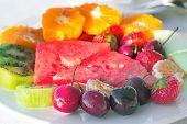 Fruit Dessert, Diverse Fruits And Berries.