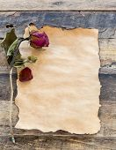 Old Paper With Dried Rose On Wooden