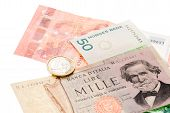 Vintage Italian And Norges Banknotes  And Euro Money