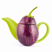 Concept vegetable kettle for tea on a white background