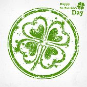 Four Leaf Clover Grunge In Round