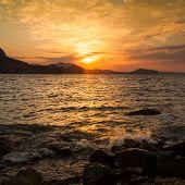 Golden sunrise over the sea