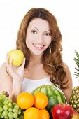 Young woman with group of fruit. Healthcare and healthy nutrition concept.