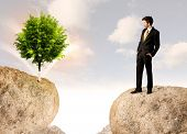 Businessman standing on the edge of rock mountain with a tree on the other side