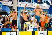 Milan - December  23: F. Magnini ( White Cap)  In  Swimming Meeting Brema Cup On December  23, 2014