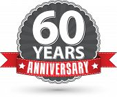 Celebrating 60 Years Anniversary Retro Label With Red Ribbon, Vector Illustration