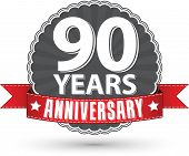 Celebrating 90 Years Anniversary Retro Label With Red Ribbon, Vector Illustration
