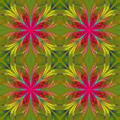 Beautiful Pattern From Fractal Flowers. Pink And Yellow Palette. Collection - Frosty Pattern. Comput