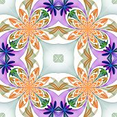 Fabulous Symmetrical Pattern Of The Petals. Blue And Beige Palette.  Computer Generated Graphics.