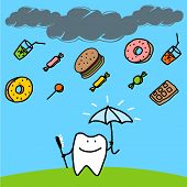 Strong tooth with an umbrella (raster version)