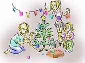Family decorates the Christmas tree