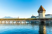 The famous Chapel Bridge in Lucerne, Switzerland.