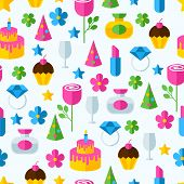 Abstract Colorful Gifts Seamless Pattern. Birthday, Romantic, Holiday Background. Set Of Flat Design