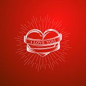 vector illustration with engraving heart,  ribbon and burst light rays. I love you. Happy Valentines