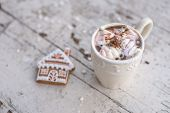 Cocoa Mug With Marshmallows And Ginger Cookie Winter Dream