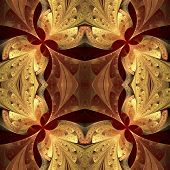 Symmetrical Pattern In Stained-glass Window Style. Brown And Beige Palette. Computer Generated Graph