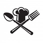 monochrome image of chef hat with spoon and fork