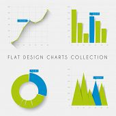 image of green-blue  - Set of vector flat design infographics statistics charts and graphs  - JPG