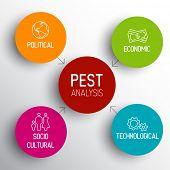 Simple colorful Vector PEST diagram schema
