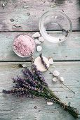 stock photo of water well  - Spa and wellness setting with lavender flowers floral water and bath salt - JPG