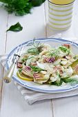 Fennel and artichoke salad with Parmesan cheese. Italian cuisine.