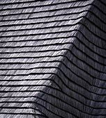 foto of shingles  - background or texture old damaged wooden shingle roof