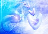 Soft  Blue Celestial Background With Hearts