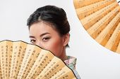 Japanese woman with traditional fan