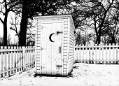 Vintage Rural Outhouse In Black In White In Winter
