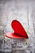 Heart for Valentines day on wooden background
