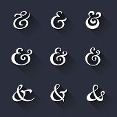 Custom decoration ampersands with long shadows. Polished hand drawn type. Vector illustration