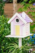 Wood Mail Box On Garden
