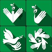 Set of stickers, icons environmental protection