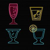 Neon Cocktail Glasses - Illustration