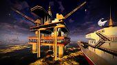 Oil rig  platform at night