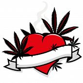 picture of marijuana leaf  - Illustration of marijuana cannabis leaves silhouette on a red cartoon heart and blank banner to fill in text - JPG