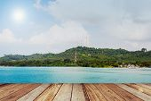 Wood, Blue Sea In Koh Chang Island Beach, Thailand