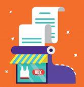 Vector Illustration Of Sales Register. Online Market